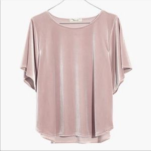 Madewell Velvet Butterfly Top XS Wisteria Dove